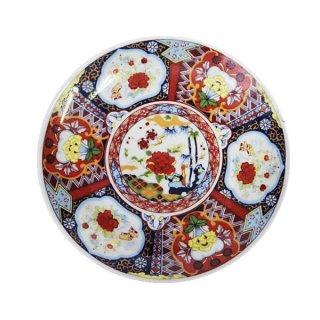 昭和レトロ食器(日本製)16cm皿 レトロ 赤絵牡丹柄皿 プレート