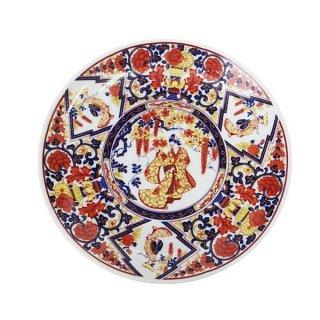 昭和レトロ食器(日本製)16cm皿 レトロ 赤絵藤柄皿 プレート