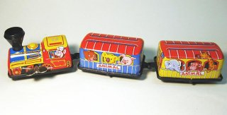 ブリキのおもちゃ ゼンマイ式3輌汽車(アニマルトレイン)