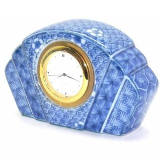 【訳あり特価】 陶時計 染付ねじり祥瑞 陶器製の置時計