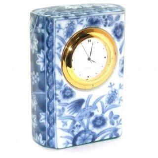 【訳あり特価】 陶時計 染付小花 陶器製の置時計
