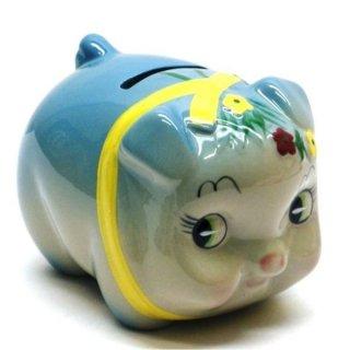 豚貯金箱(花豚バンク) ブルー 豚の貯金箱