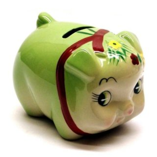 豚貯金箱(花豚バンク) グリーン 豚の貯金箱
