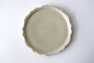9寸プレート皿 輪花 灰鼠