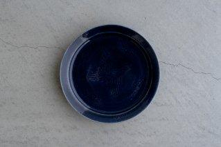 瑠璃釉線彫雲鶴文五寸リム皿