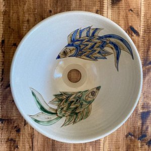 魚紋の手洗いボウル やちむん 沖縄陶器 NO-52