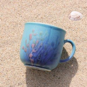 やちむんカップ〈結婚祝い〉〈引出物〉沖縄の珊瑚カップ おしゃれなギフト 藍1 ダッタ通販