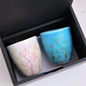 珊瑚のやちむんタンブラー  純白×青色 ペア
