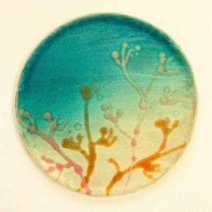 沖縄陶器の平皿 中皿 6寸皿 ヤチムンプレート NO3