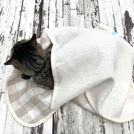 猫用|おくるみブランケット(リネン)