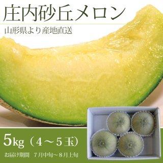 山形庄内砂丘メロン青肉 5kg (4〜5玉)