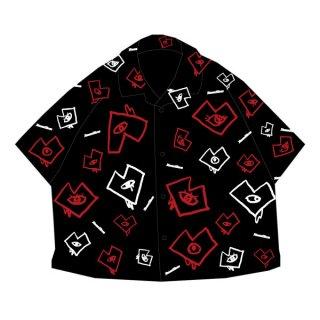 【2021】<br>ビッグシルエット オリジナル開襟シャツ ブラック<br>(M/L)