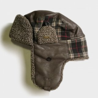 LEATHER/CHECK WOOL AVIATOR CAP