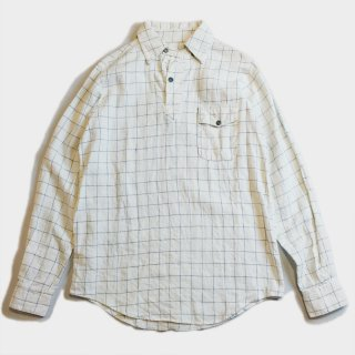30's LINEN CHECK PULLOVER SHIRTS