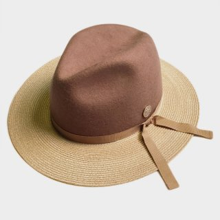 WOOL/LINEN BRAID BRIM COMBI HAT