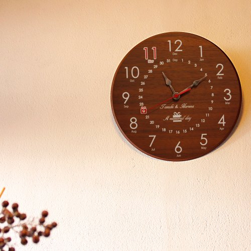 スワロフスキーメモリアル時計 丸形 ウォールナット