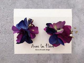 花ボンボンイヤリング(ブルー&パープル)