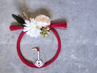 水引お正月飾り(赤×鶴)
