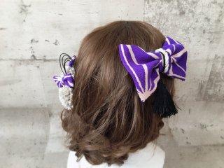 ちりめんリボンのモダン髪飾り(墨紫)