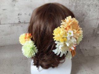 小花とタッセルの黄色い和装髪飾り