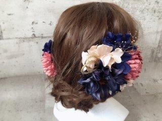 ダークブルーの大人可愛い和装髪飾り