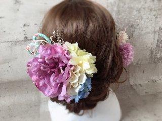 芍薬とちりめんリボンの和装髪飾り