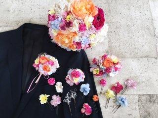 【オーダーメイド商品】ドレスに合わせたヘッドドレス・ブーケ・ブートニア