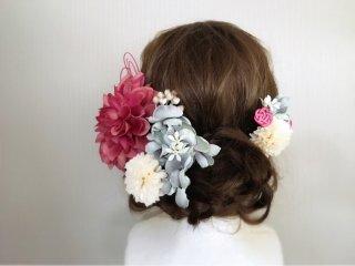 モーブピンクのダリアと水引の髪飾り