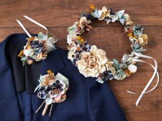 ニュアンスカラーのナチュラルな花冠&リストレット&ブートニア3点セット