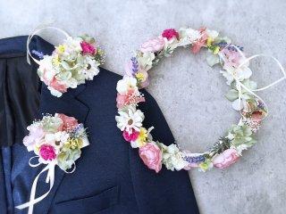 春の花畑のような花冠&リストレット&ブートニア3点セット