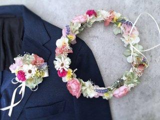 春の花畑のような花冠&ブートニア2点セット