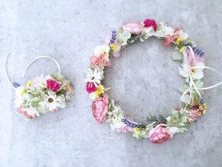 春の花畑のような花冠&リストレット2点セット