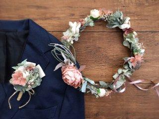 サーモンピンクのピオニーの花冠&ブートニア2点セット
