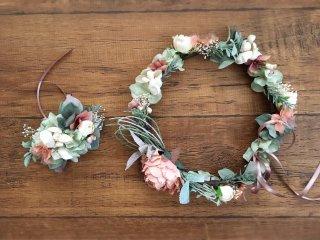サーモンピンクのピオニーの花冠&リストブーケ2点セット