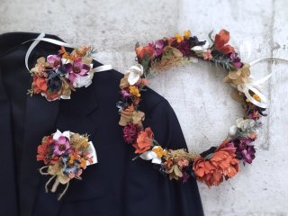 オータムカラーの花冠&リストブーケ&ブートニア3点セット
