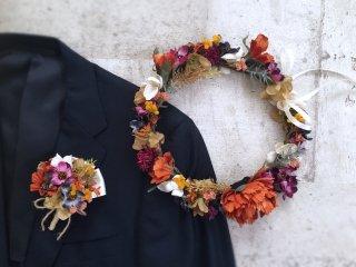 オータムカラーの花冠&ブートニア2点セット