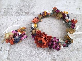 オータムカラーの花冠&リストブーケ2点セット