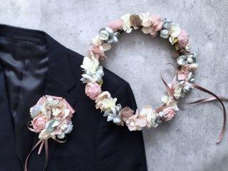 【オーダーメイド商品】グレイッシュな花冠&ブートニア2点セット