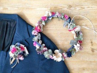 花咲くガーデンの花冠&ブートニア2点セット