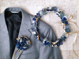ブルーグレーのクラシカルな花冠&ブートニア2点セット