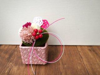苔玉の正月飾り(紅梅色)