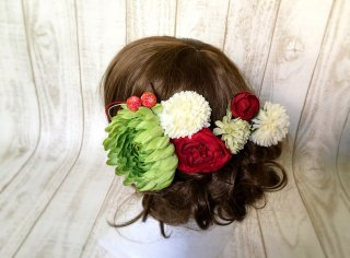 マムと椿の和装髪飾りセット(グリーンティ)