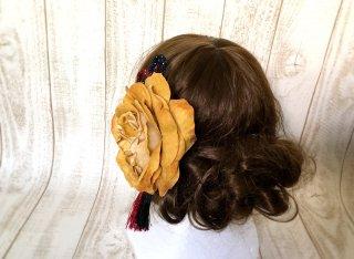布薔薇の和装髪飾りセット(マスタード)