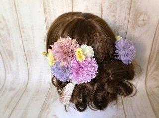 小花とマムの和装髪飾りセット(ピーチ)