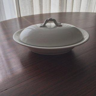 フランスアンティーク 白釉蓋つき深皿