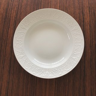 フランスアンティーク リモージュ窯 白レリーフの深皿