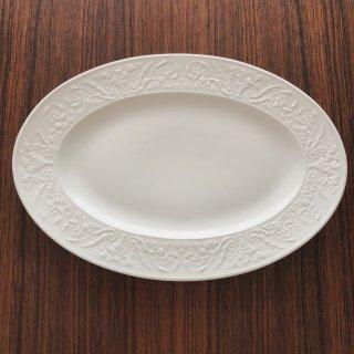 フランスアンティーク リモージュ窯 白レリーフのオーヴァル皿