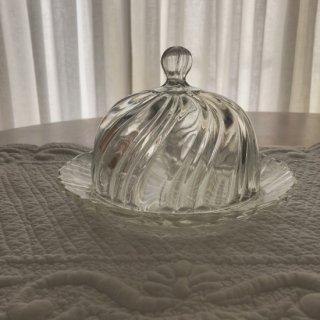 フランスアンティーク ガラスのクロッシュ&プラトー