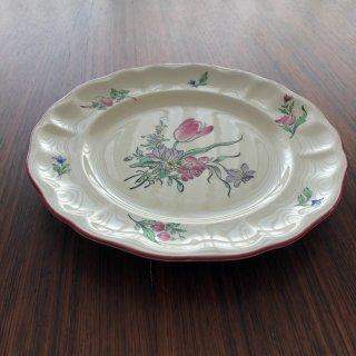 フランスアンティーク リュネビル窯 色付け絵皿 チューリップ1