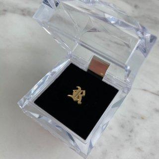 14K Gold Plated Old Englishイニシャルピアス